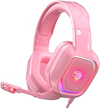 ZIUMIER Z30 Pink Gaming Headset for PS4, PS5, Xbox One, PC, Wired Over-Ear Headphone with Noise Canceling Microphone, LED Flowing RGB Light, 7.1 Surround Sound,Comfortable Earmuffs