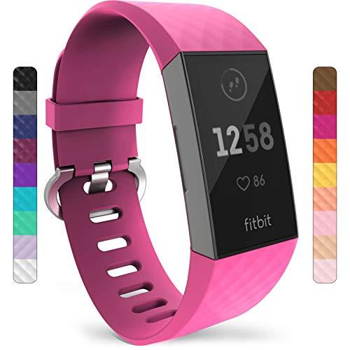Yousave Accessories Armband Kompatibel mit Fitbit Charge 3 & 4, Silikon Ersatzarmband für Fitbit Charge3 / Charge4 Tracker, Sport Armband, Armbänder Kompatibel mit Fitbit Charge 3 & 4 - Groß Fuchsia