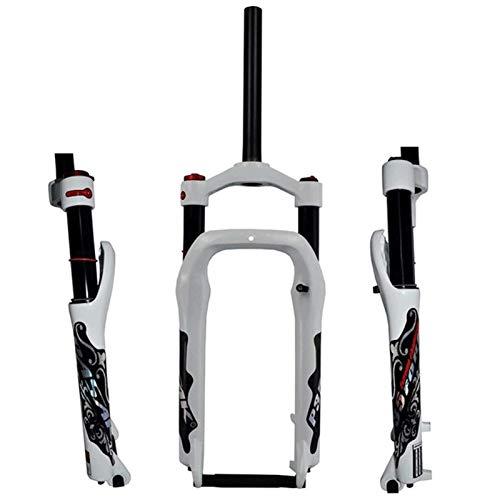 KQBAM Horquilla De Suspensión De Bicicleta Bicicleta De Aleación De Magnesio De 20 Pulgadas Horquillas De Aire Suspensión Viaje 100Mm Freno De Disco 1-1/8'para Neumáticos De Gra