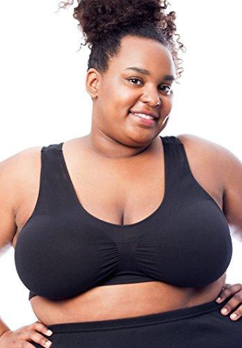 All Woman Übergröße Nahtloser BH Überziehen, BH-Größen bis 130 B/F (120-130 B/F, Schwarz)