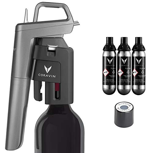 Coravin Model Five Premium - Wine Preservation System, Includes 3 Coravin Pure Capsules and 1 Coravin Screw Cap