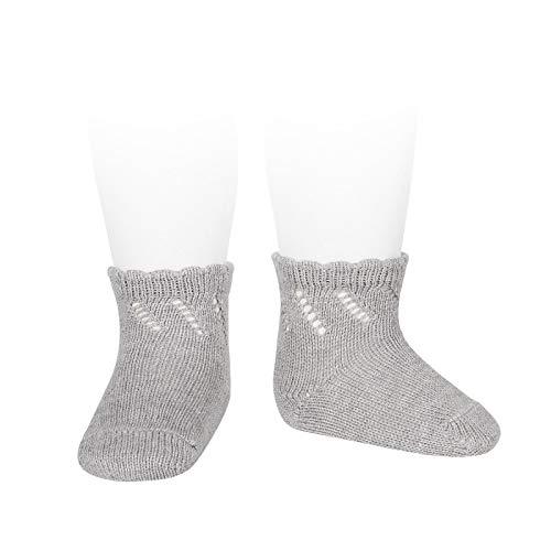 Cóndor Calcetines cortos de perlé para bebé con calados Gris, Talla 00 (3-6 meses)