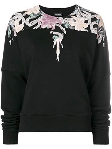 MARCELO BURLON County of Milan Women's Flowers Wings Sweatshirt Medium Black