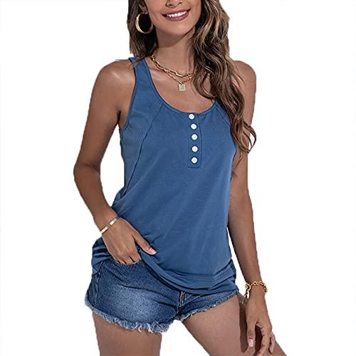 Lente en zomer vrouwen casual mode ronde hals effen kleur knop decoratie losse mouwloos vest T-shirt top vrouwen, Blauw, XXL