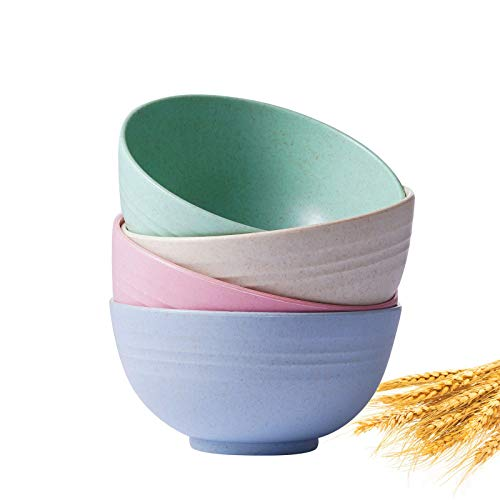 TAO CICADA Cereal Bowls - Set of 4 Wheat Straw Fiber Bowls,Unbreakable & Lightweight for Snacks, Rice, Condiments, Side Dishes, or Ice Cream, Dishwasher & Microwave Safe