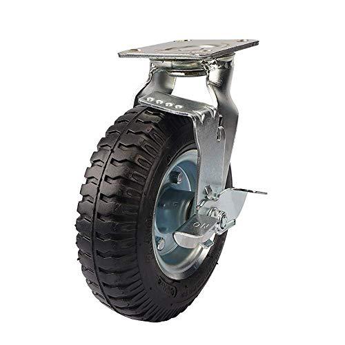 N&O Renovierung Hausrollen 4 Stück Heavy Duty 212 mm Aufblasbare Gummirollen Industrieller Trolley Rotierendes Rad mit Bremse Für Möbelindustrie (Color : Black Size : 8in)
