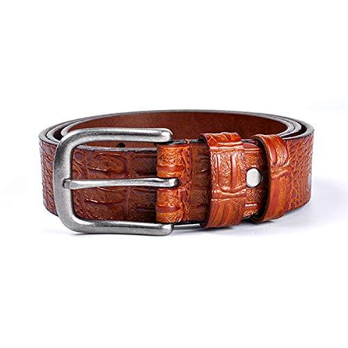 Cinturón de piel de vaca para hombres Cinturones de lujo con patrón de cocodrilo Hombres 100% cuero genuino Hebilla de metal de plata antigua, Marrón amarillo, 120 cm 40 a 43 pulgadas