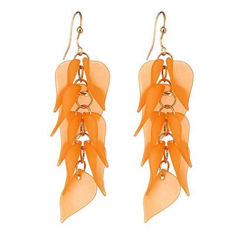 N-K PULABO - Pendientes largos con borla de color caramelo y accesorios para mujer, color naranja, creativos y exquisitos trabajos a la moda