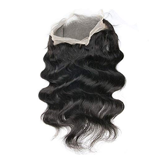 360 Lace Frontal Body Wave 22x4 Pre Plucked with Adjustable Strap Bleached Knots Virgin Hair Frontal Natural Color (10'')