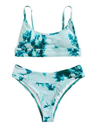 Verdusa Women's Tie Dye Swimsuit Bandeau Wireless Top High Leg Bikini Bathing Suit Multicolored-1 S Mint Blue