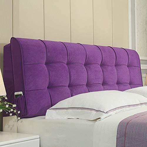 Kopfteil Kissen für Bett Rückenlehnen Bequeme Rückenlehne Lordosenstütze Bedside Kissen Taillenschutz Doppelbett, 6 Farben, 6 Größen ( Color : Purple Lavender , Size : 120 x 10 x 60cm )