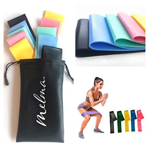 MELMA Widerstandsbänder/Fitnessbänder/Gymnastikband [5er Set] mit Tragetasche Resistance-Bands in Studioqualität für Krafttraining, Fitness, Stretching & Yoga (BUNT)
