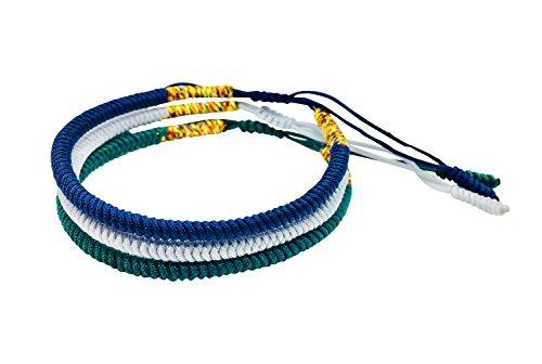 Reclaiming Zen Pulsera Tibetana Cuerda Budista Hecha a Mano Nudo de la Suerte (Conjunto de 3 - Azul Marino, Plateado, Verde Oscuro)