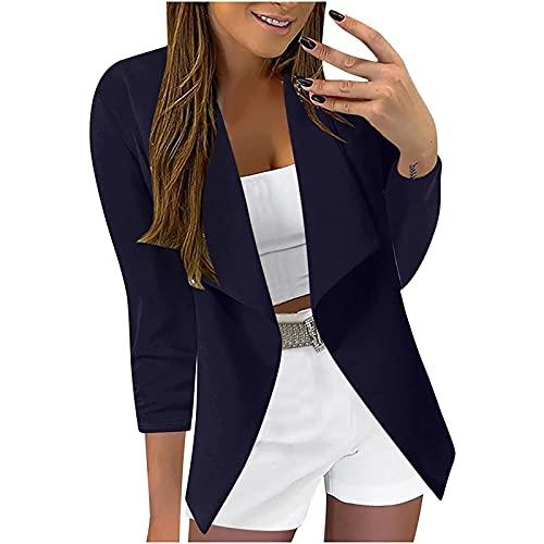Chaqueta para mujer, chaqueta de traje, oficina, blazer, bolsillos frontales abiertos, chaqueta de punto, manga larga, blusa, azul marino, XXL