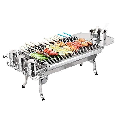 TQSDYY Tragbare Haushalt Edelstahl Außen Carbon-Grill for 3-5 Personen, Faltbare Barbecue Grill, 2 Seiten Regale, leicht und langlebig