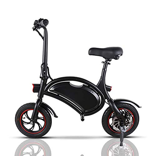 LALAWO Zusammenklappbares Elektrofahrrad, Kompaktes City-Fahrrad 12-Zoll-36-V-E-Bike Mit 4,4-Ah-Lithiumbatterie Für Männer, Frauen, Höchstgeschwindigkeit 25 Km/H,Schwarz