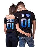 Daisy for U King Queen Shirts Couple Shirt Pärchen T-Shirts Paar Tshirt König Königin Kurzarm 1 Stücke-King-schwarz-blau(Herren)-L