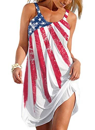 CORAFRITZ Mini vestido de verano con estampado de bandera americana y cuello redondo suelto para mujer