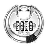 Tuff4ever Candado Combinación de 4 dígitos, Candado Numeros con Grillete de Acero Endurecido Cerradura Puerta Exterior Redondo Resistente Impermeable 70mm