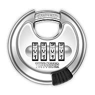 Tuff4ever Combination Padlock, Padlock with Code Combination Lock 4-Digit with Hardened Steel Shackl...
