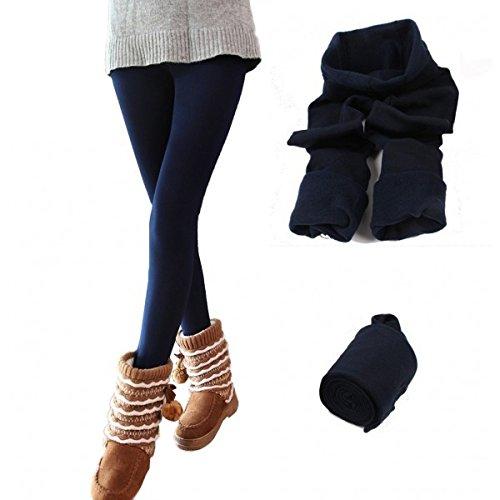 Thermo-leggings voor dames, meisjes met binnenkant, van fleece, verschillende kleuren en maten, donkerblauw, L-XL
