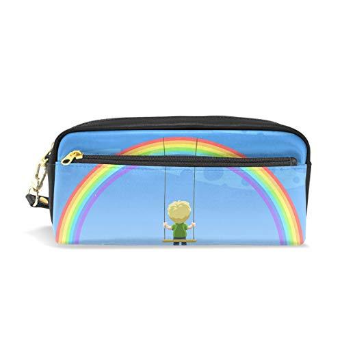 Mnsruu Trousse, Rainbow Motif grande capacité Pen Sac Maquillage Outil Sac avec compartiments pour filles garçons