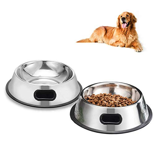SUOXU Medium Dog Bowl, 2 Stainless Steel Dog Bowls, Dog Plate Bowls With Non-slip Rubber Bases, Medium and Large Pet Bowl For Feeding Water and Food (22cm)