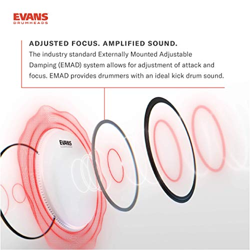"Evans EMAD2 Clear Bass Drum Head, 22"" – Externally Mounted Adjustable Damping System Allows Player to Adjust Attack and Focus – 2 Foam Damping Rings for Sound Options - Versatile for All Music Genres"