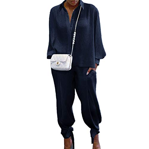 Siyova 2 Pezzi Completo da Donna Elegante Camicia a Maniche Lunghe con Risvolto a Coste Tinta Unita+Pantaloni Lunghi Abiti Donna Casual Autunnali Primaverili Tuta Leggero (Blu Scuro, XXL)