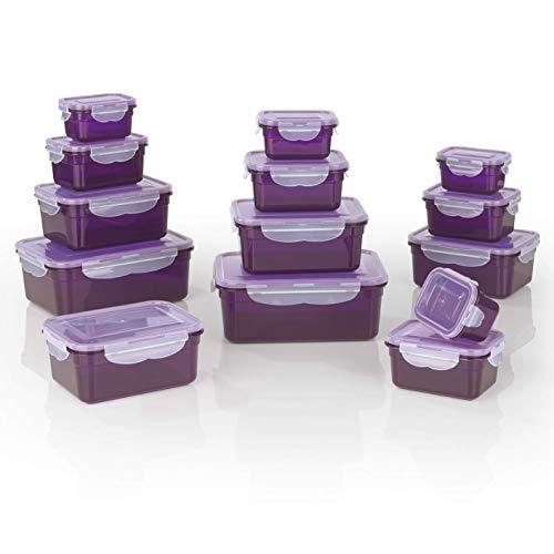 GOURMETmaxx Frischhaltedosen Klick-it 28 tlg. | Spülmaschinen- Mikrowellen- und Gefrierschrankgeeignet | Deckel BPA-frei mit 4-fach-Klick-Verschluss | Ineinander stapelbar [in 4 Größen, lila]