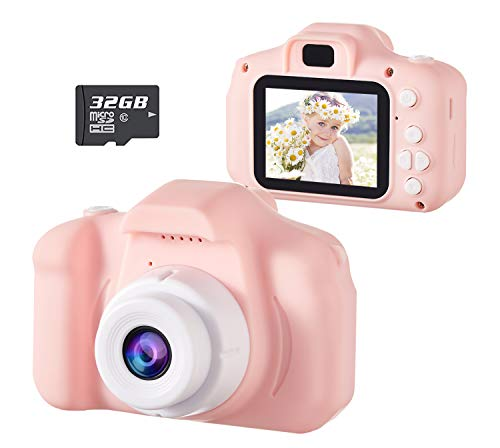 D.DA.D Kids Camera for Girls Best Birthday Gifts for 3 4 5 6 7 8 Year Old Children Toddler Toys, Portable Rechargeable Digital Video Camcorder 2.0 Inch IPS Screen with 32GB Card – Pink