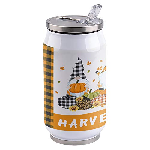 13.5oz Stainless Steel Liner Vacuum Tumbler Autumn Gnome Pumpkins Thermal Insulation Vacuum Cup with Straw & Slider Lid Orange Check Portable Cola Can for Travel, Sports, Camping