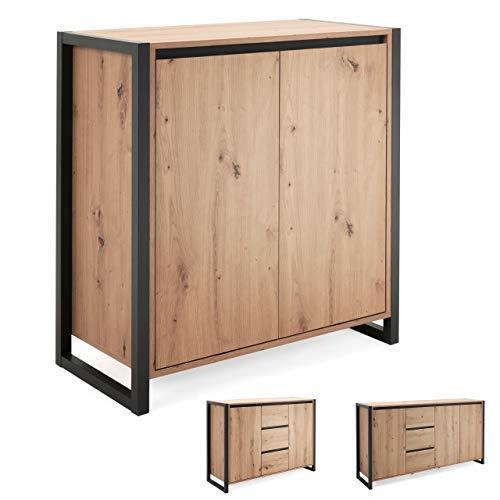 Newfurn Kommode Anthrazit Wildeiche Sideboard Vintage Industrial - 80x88x40 cm (BxHxT) - Highboard Anrichte - [Vincent.one] Wohnzimmer Schlafzimmer Flur Esszimmer