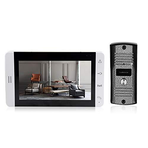 OWSOO Visiophone interphone,Écran LCD 7 Pouces Moniteur Couleur Vidéo Intercom avec Bouton Tactile,Sonnette Vidéo avec IR Vision Nocturne Caméra Porte Bell pour Appartement Maison