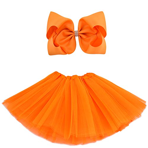 BGFKS 5 Layered Tulle Tutu Skirt for Girls with Hairbow and Hairties, Ballet Dressing Up Kid Tutu Skirt (Orange, 2-8 Years Old)