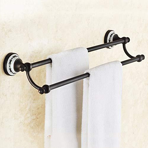 HXCD American Antique Towel Rack Full Copper Black Double Bar Toallero Bar Baño Colgante Toallero, Baño Accesorios de Moda Anillo de Toalla (Tamaño: 50cm)
