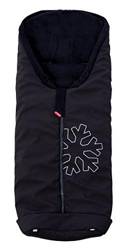 ByBoom - Softshell Winterfußsack Thermo Aktiv für Kinderwagen und Buggy, Farbe:Schwarz/Schwarz