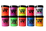UV Neon Black Light Fluorescent Acrylic Paint 10 Assorted Super Bright Poster...