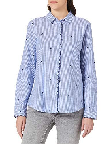 Springfield Blusa Rayas Bordados Camisa, Azul Medio, 38 para Mujer