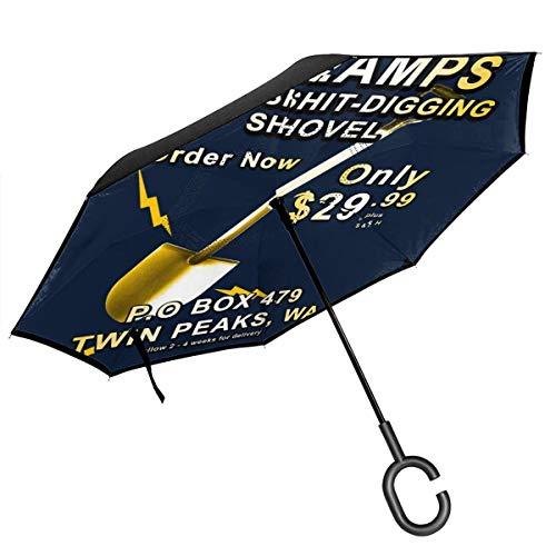 Twin Peaks Dr Amps Gold Shit Grabschaufel, doppelschichtig, umgekehrter Regenschirm für Auto, umgekehrt, zusammenklappbar, C-förmige Hände – leicht und Winddicht