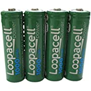 4 Loopacell AA Rechargeable NiCD Battery, 1.2V 1000mAh High Capacity AA Batteries for Solar Lights, Garden Lights