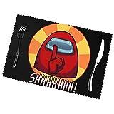 SOUL-RAY A-Mong Us Shhhh - Juego de 6 manteles individuales antideslizantes con diseño de Shhhh
