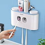 Toothbrush Holders Wall Mounted for Bathroom-Automatic Electric Tooth Pastetooth Dispenser Squeezer-Bathroom Organizer Storage Accessories Set for Kids With Magnetic Cup and Toothbrush Organizer Slots