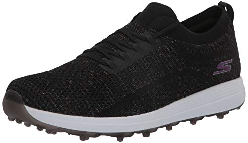 Skechers Go Golf Women's Max Golf Shoe, Black/Multi Knit, 9.5 W US