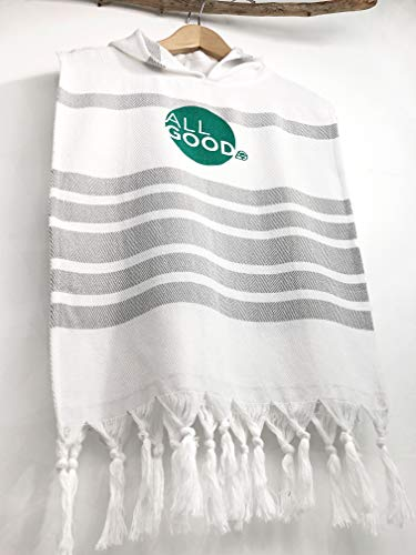 Kid's Hooded Poncho- ALL GOOD- Age 2-3 Turkish Towel, Beach Coverup, Toddler Poncho