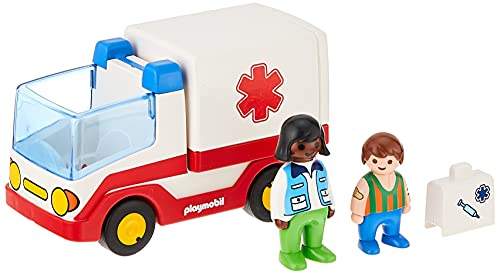 PLAYMOBIL 1.2.3-1.2.3 Ambulancia Juego con Accesorios, Multicolor, única (9122)