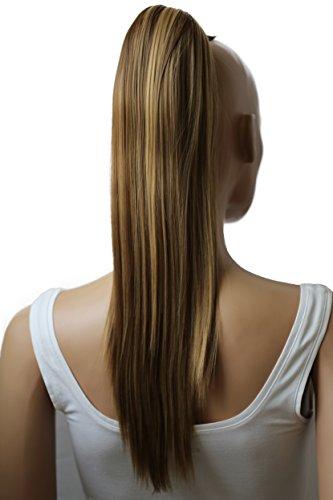 PRETTYSHOP 50cm Haarteil Zopf Pferdeschwanz Haarverlängerung Glatt Braun Blond Mix H154