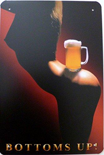 Blechschild 20x30cm - Bottoms up! Bier Frauen sexy Erotik