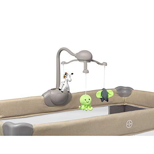 Lionelo Simon 2in1 Reisebett Baby, Laufstall Baby ab Geburt bis 15kg, Spielkarussell mit Spielzeug, Moskitonetz, zusammenklappbar (Sand) - 6