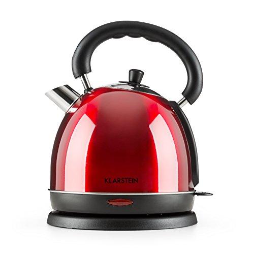 Klarstein Teatime - Wasserkocher, Teekessel, Wasserkessel, 1850-2200 Watt, Klassisches Design, 1,8 Liter Fassungsvermögen, Cool-Touch-Griff, Wasserstandsanzeige, rot